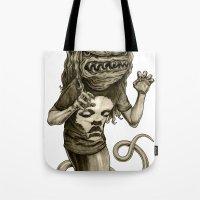 demon Tote Bags featuring Demon by Tim Maclean