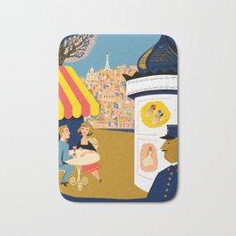 Vintage France Sidewalk Cafe Travel Bath Mat