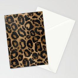 Golden and Black glitter  Leopard/ Jaguar print Stationery Cards