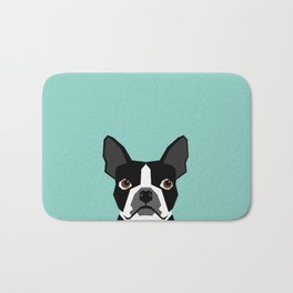 Logan - Boston Terrier pet design with bold and modern colors for pet lovers Bath Mat
