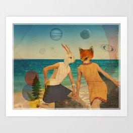 Fox & Bunny Collage Art Print