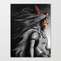 princess Canvas Prints featuring Miyazaki's Mononoke Hime Digital Painting the Wolf Princess Warrior Color Variation by Barrett Biggers