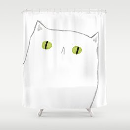 White Cat Face Shower Curtain