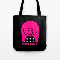 pigs Tote Bags featuring Pigs Rule! by Paul Breen