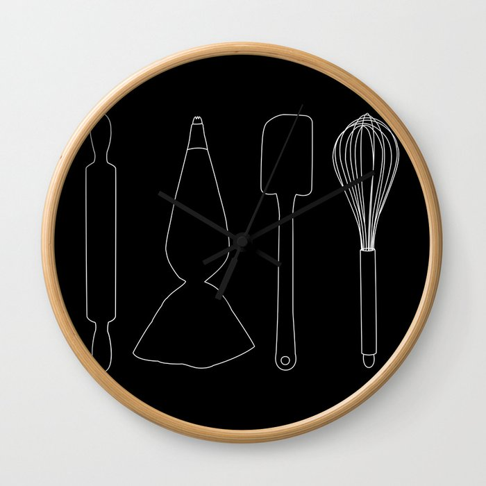 Baking Tools Black Wall Clock