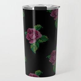 Rose cross stitch - black Travel Mug