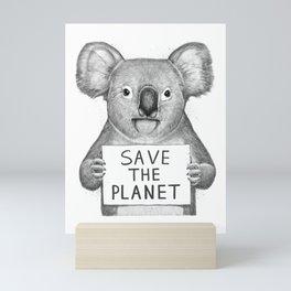 Koala save the planet Mini Art Print