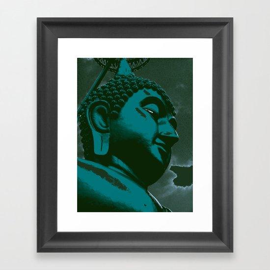 Buddah Head 03; Blue Framed Art Print