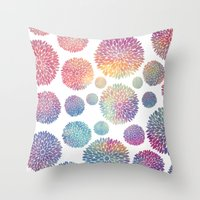 Watercolor Flowers Throw Pillow