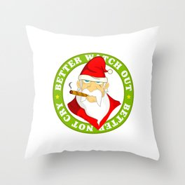 Smokin' Santa Throw Pillow
