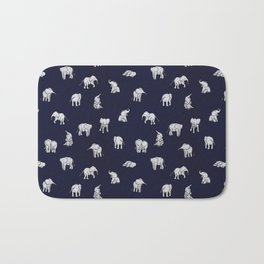 Indian Baby Elephants in Navy Bath Mat