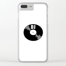 Dj record music logo Clear iPhone Case