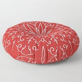 Single Snowflake - red Floor Pillow