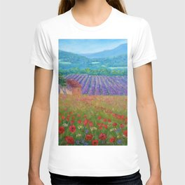 Province, France rolling hills of poppies and lavender fields floral landscape painting T-shirt