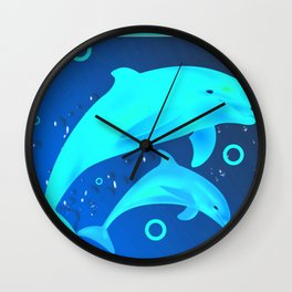 Glowing Dolphins Wall Clock