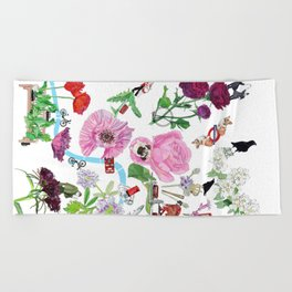 London in Bloom - Flowers and transportation that make London Beach Towel