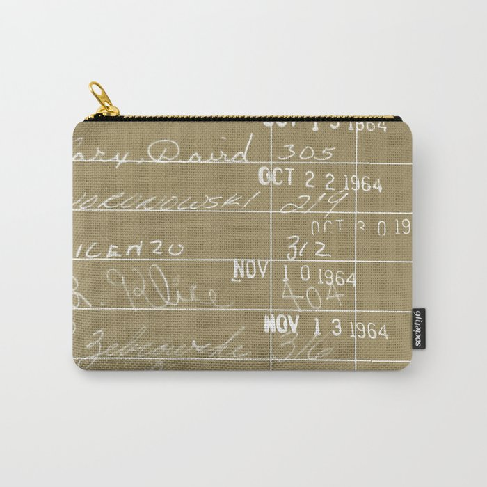Library Card 23322 Negative Brown Carry-All Pouch