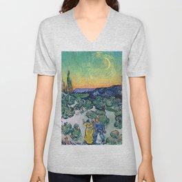 Couple Walking among Olive Trees, Vincent Van Gogh Unisex V-Neck