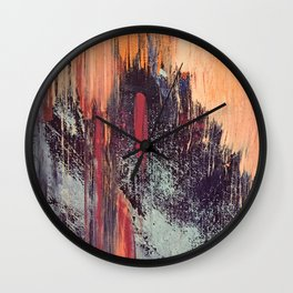 Night and Day: pretty abstract piece in orange, purple, and blues Wall Clock