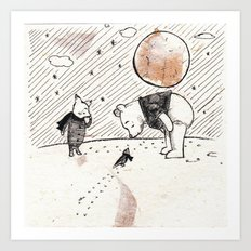 Pooh, Piglet, and Tiny Bird Art Print