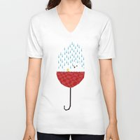 tiffany V-neck T-shirts featuring umbrella bath time! by Yetiland