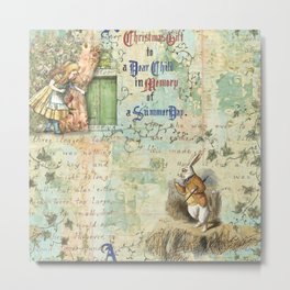 Alice Adventures Underground Christmas Summer Day Rabbit Metal Print