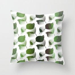 Tumbling Green Leaves Throw Pillow