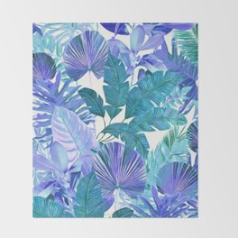 Tropical Leaf Blue Throw Blanket