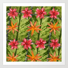 Patterned Flowers Art Print