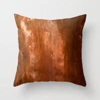 copper Throw Pillows featuring copper by gaus