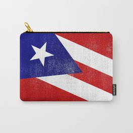 Puerto Rican Distressed Halftone Denim Flag Carry-All Pouch