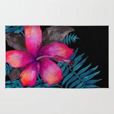 Pink Hibiscus Flower - BLACK Rug