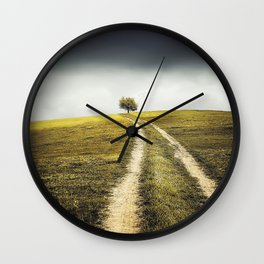 Grey sky Green tree 4 Wall Clock