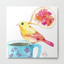 birdy and a blue teacup Metal Print