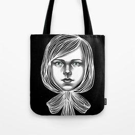 Negativ-Bow tie Girl Tote Bag