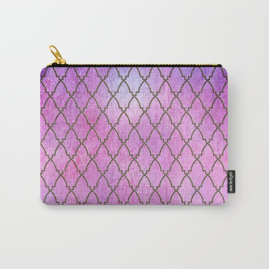 Purple and blue Quatrefoil with Gold Frame- Elegant Morrocan Watercolor Pattern Carry-All Pouch