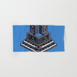 Electronic music altar — isometric pixel art Hand & Bath Towel