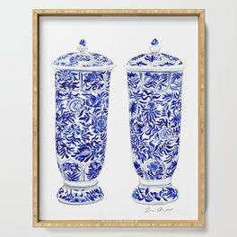 Blue and White China Ginger Jar Vases Pair Chinoiserie Chinese Asian Serving Tray