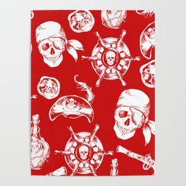 Red Pirate Pattern Poster