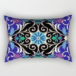 Sumi Flower Pattern - Blue Rectangular Pillow