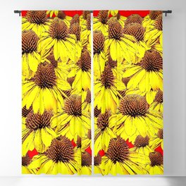 DECORATIVE YELLOW CONE FLORALS RED ART Blackout Curtain