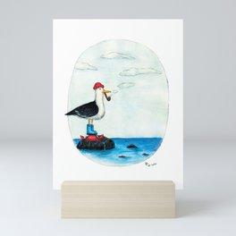 Pensive seagull Mini Art Print