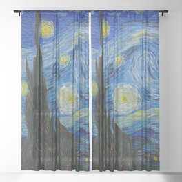 The Starry Night Vincent van Gogh 1889 Oil on canvas Sheer Curtain