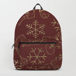 Burgundy red and faux gold foil Christmas snowflakes stockings Backpack