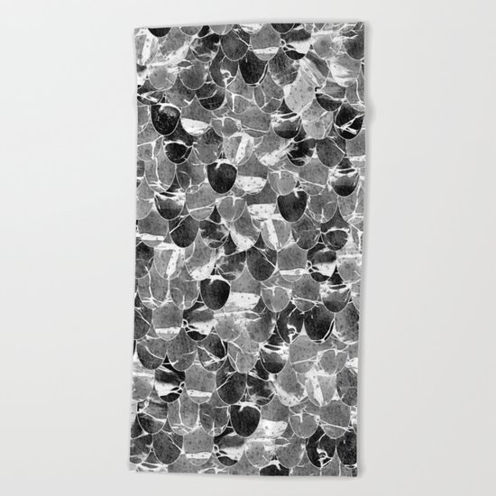 Black and White Abstract Mermaid Scales Pattern Beach Towel