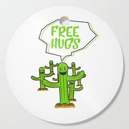 Cactus cacti free hug plant face smile saying funny gift Cutting Board