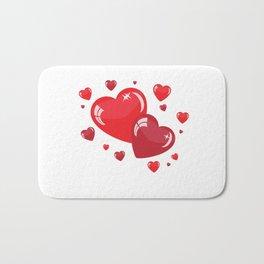 Red Hearts Bath Mat