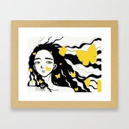 A girl and butterflies Framed Art Print