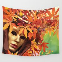 mask Wall Tapestries featuring Mask by Veronika