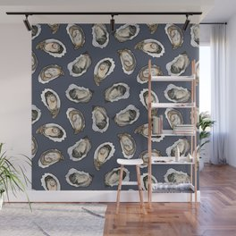 Oysters by the Dozen in Blue Wall Mural